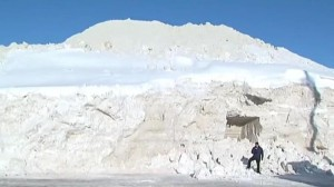 Before: Boston's snow mound at its height in February.