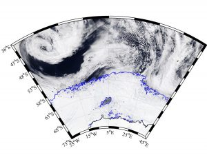 Image: MODIS-Aqua via NASA Worldview; sea ice contours from AMSR2 ASI via University of Bremen
